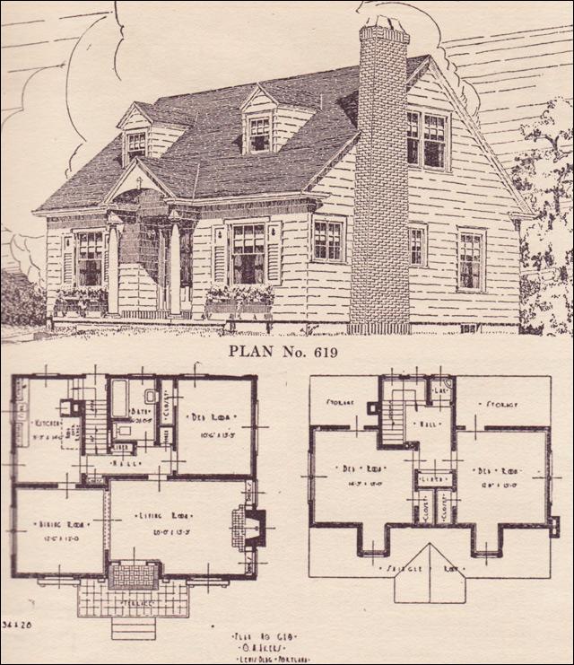 Colonial Revival Cape Cod House Plans The Portland Telegram Plan Book Oregon No 619 Cape Cod House Plans Colonial House Plans Cape Cod House
