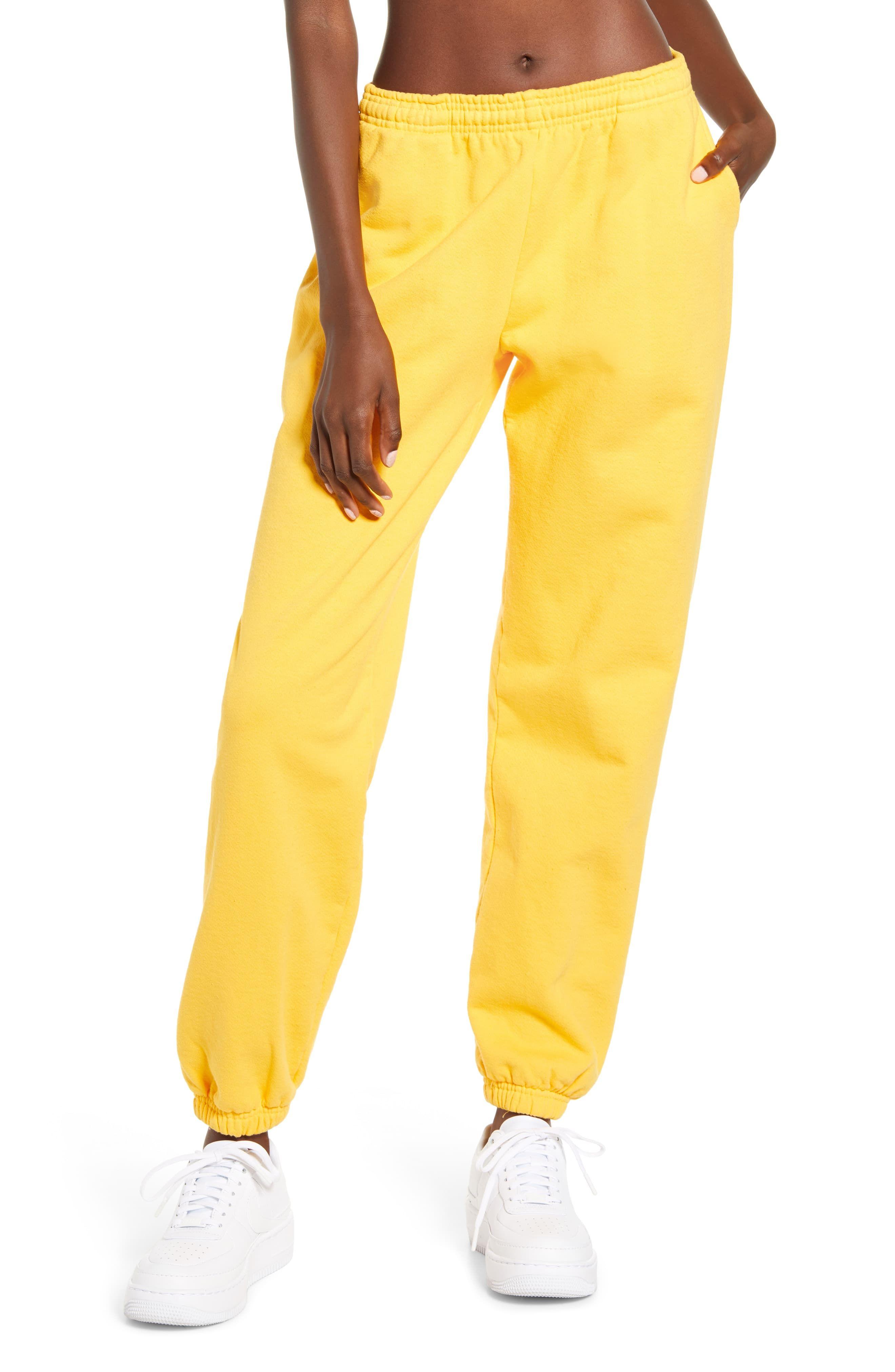 Kappa  Womens Stretch Waist Jogger Pants Yellow Black Stripe Size Small