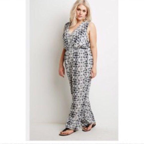 nwt forever 21 plus size batik print jumpsuit 3xl | pant jumpsuit