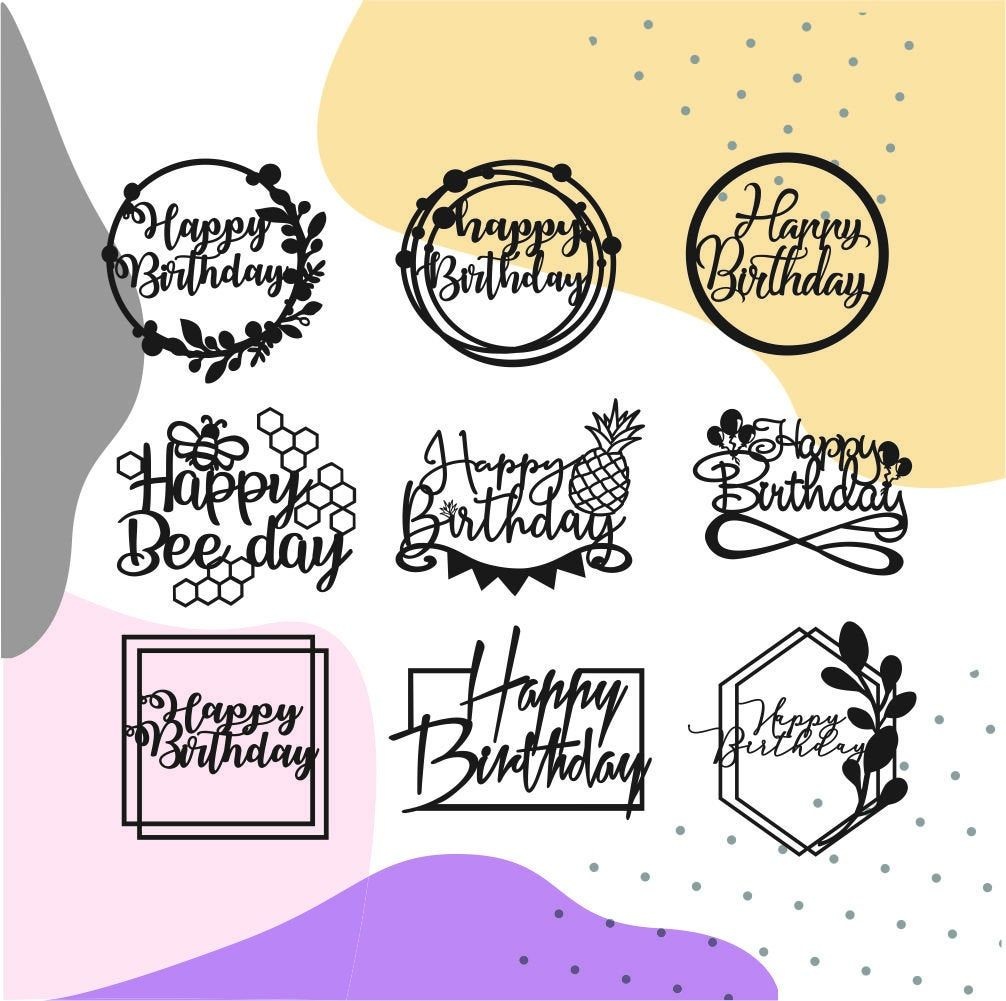 Cake topper svg happy birthday svg files for cricut and