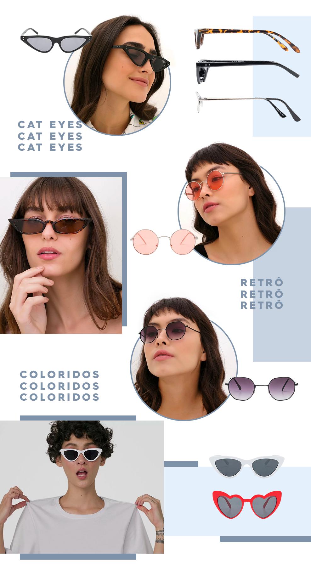 a4fc2a82b gatinho, armação colorida, retrô... a primavera combina com óculos de sol  em (quase) todos os looks, né?