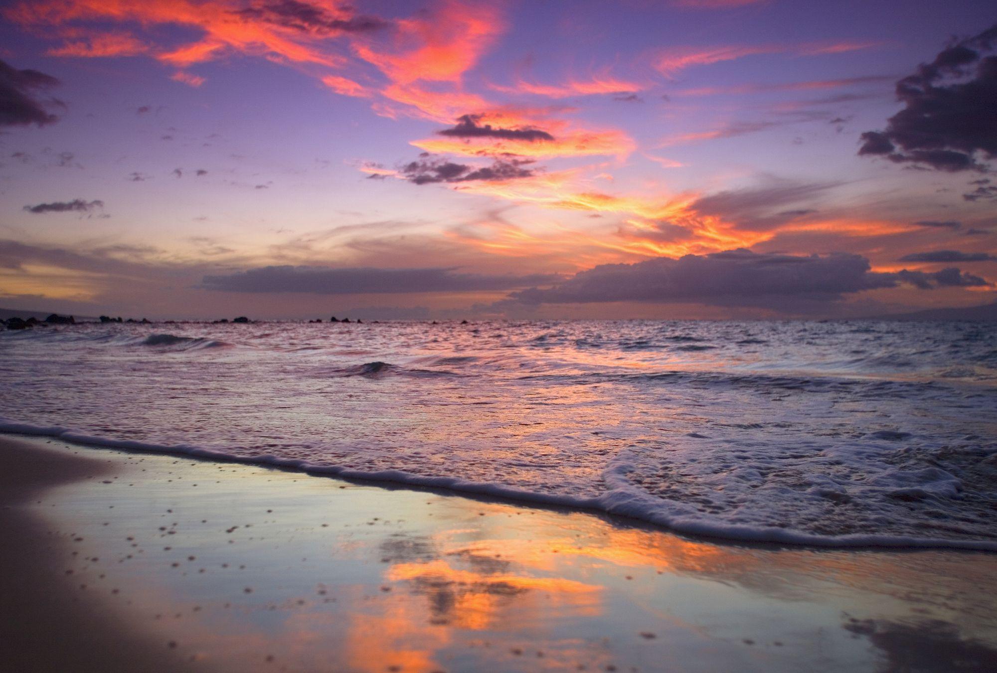 "Sunset At Mokapu Beach/"" Maui Canvas Art Print /""Hawaii Wailea"