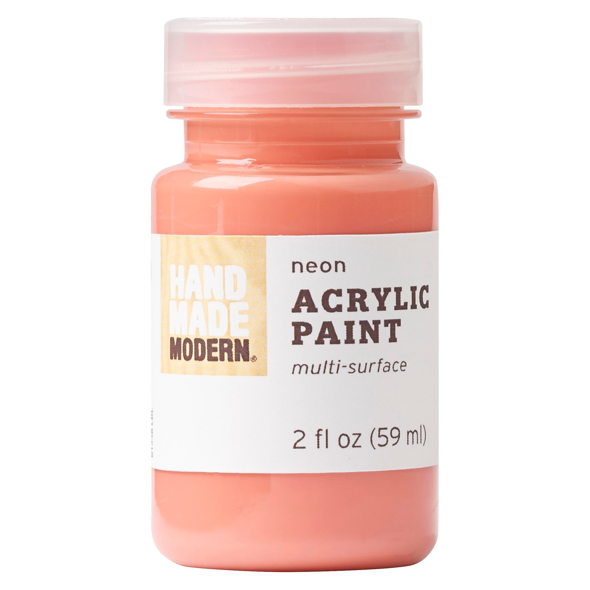 2oz neon acrylic paint hot coral hand made modern