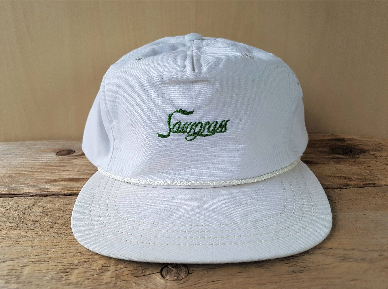 Sawgrass Country Club Vintage White Strapback Golf Hat Rope Lined Town Talk Golfing Cap Ponte Verda Beach Florida Souvenir Ballcap White Vintage Golf Hats Ball Cap