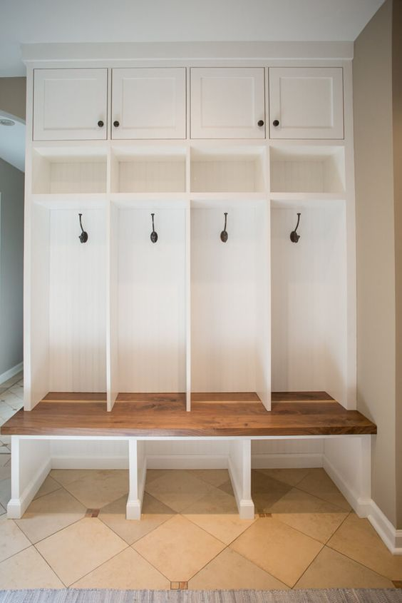Mudroom-bench-storage-walnut-builtin-shaker-inset … | Pinterest