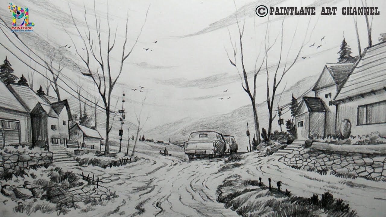 How to Draw A Beautiful Scenery with Pencil   Pencil ...