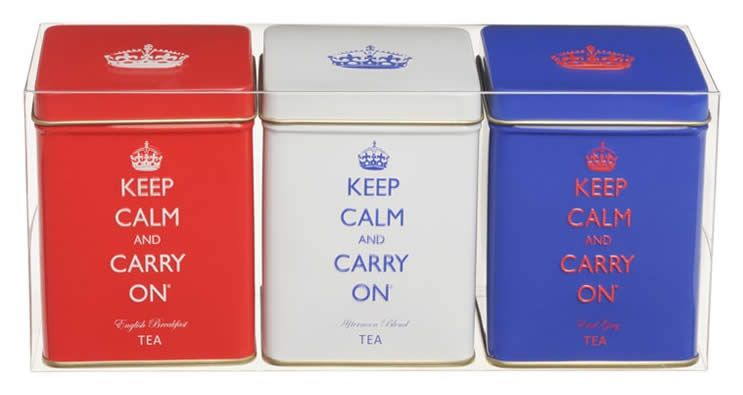 Keep Calm and Carry On Tea Trio - This charming set of three tea tins will add pizazz to your shelf and deliciousness to your tea cup!  These rich teas from Sri Lanka are packed in the U.K.  The red tin has English Breakfast tea.  The white tin holds Afternoon Blend, and the blue tin carries Earl Grey.  This trio is so nice for the person that likes a little variety in flavor.