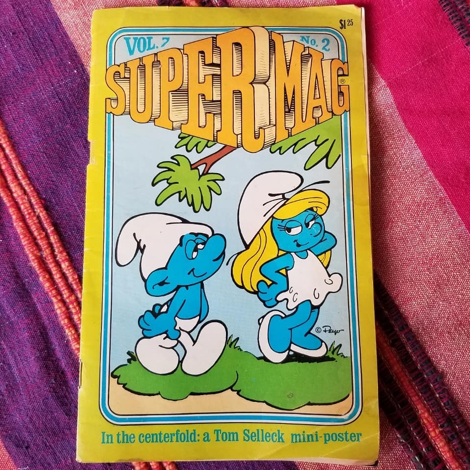 Anne Serody On Instagram Somehow A Free Tom Selleck Poster In A Kid S Smurf Magazine Seems A Little Strange Butheythatsme In 2020 Tom Selleck Selleck Smurfette