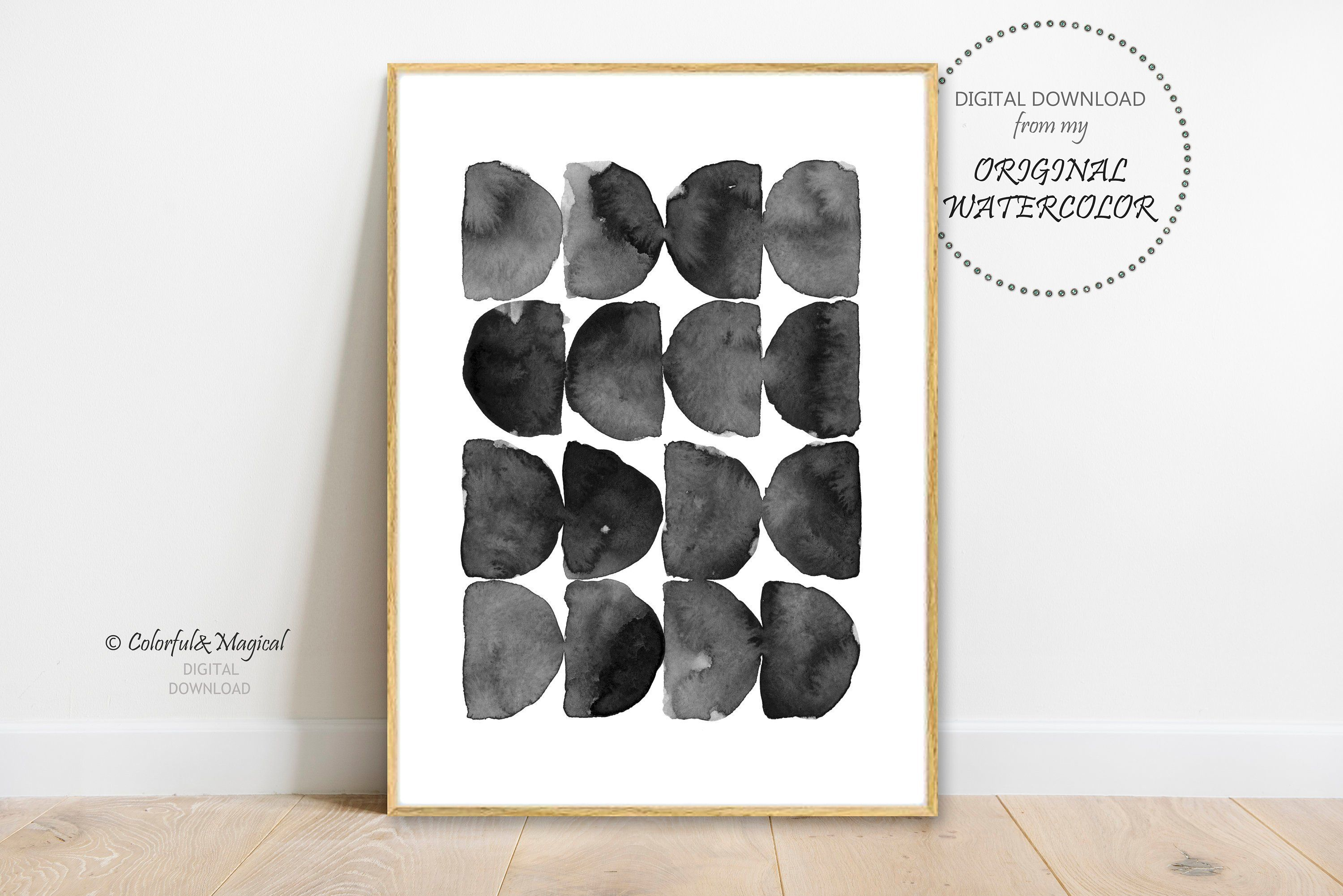 Abstract Black And White Print Printable Scandinavian Home Decor Poster Modern Wall Art Digital Download Watercolour Minimalist Poster Avec Images