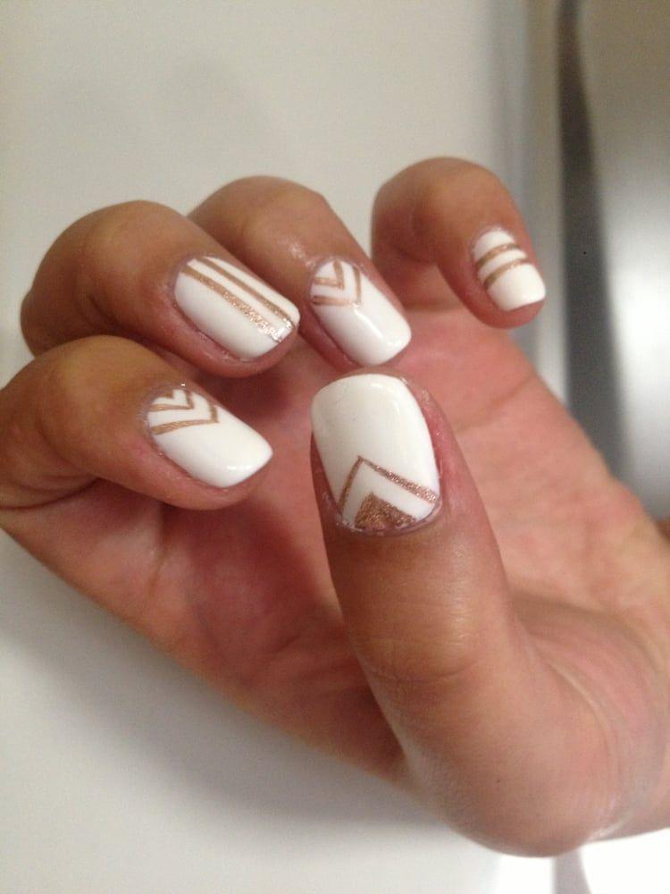 white nail designs | Sheik White gelish with rose gold chevron and stripes  nail art | - White Nail Designs Sheik White Gelish With Rose Gold Chevron And