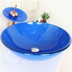 modern waschbecken blau rund glas aufsatz waschschale mit wasserfall wasserhahn set glas. Black Bedroom Furniture Sets. Home Design Ideas