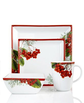 Charter Club Dinnerware Red Berry Square Collection Holiday Dinnerware Holiday Lane M Christmas Dinnerware Sets Christmas Dinnerware Christmas Tableware