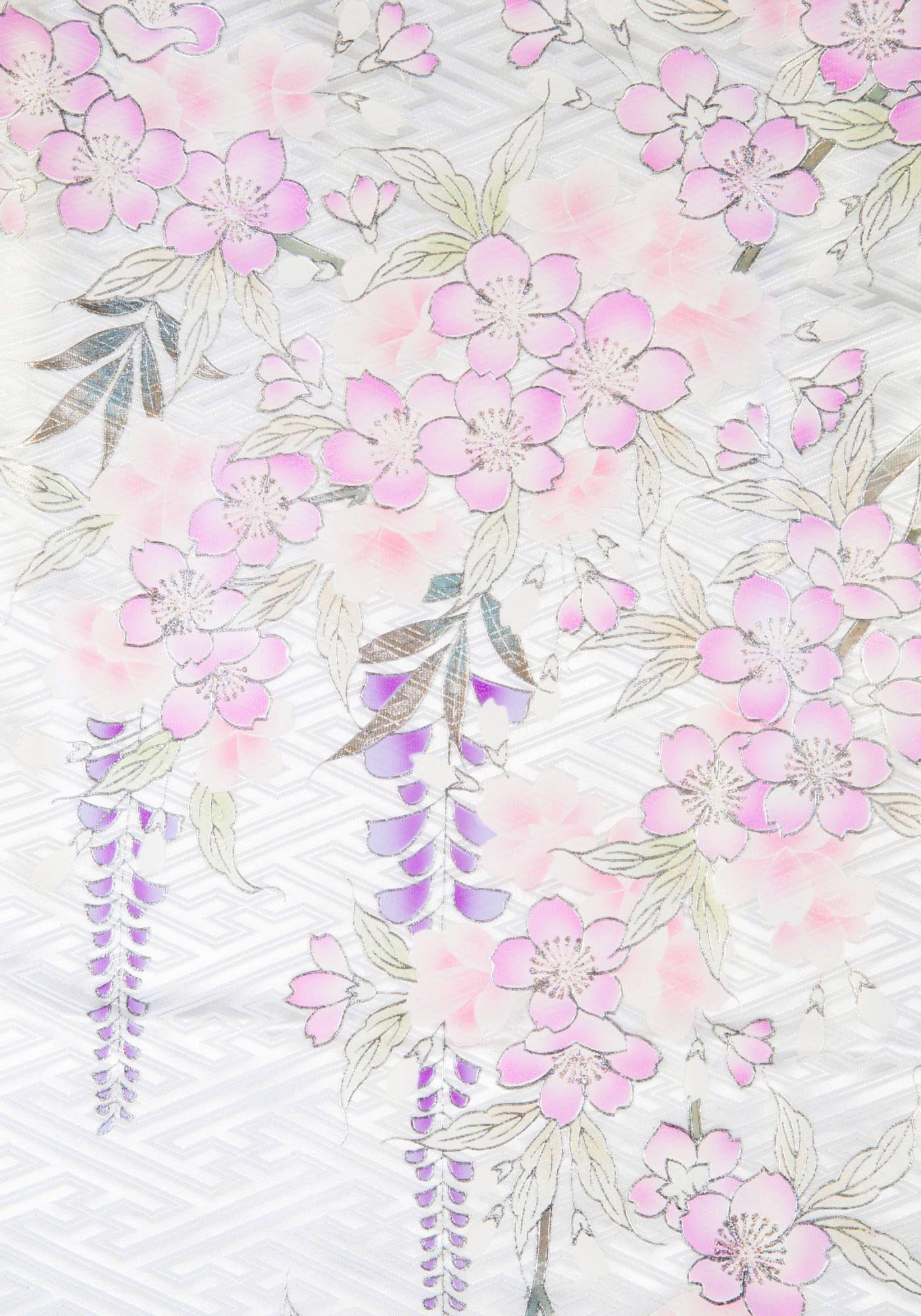 着物 no:838 商品名:白 金彩藤桜 6 | 卒業衣装&袴 hakama