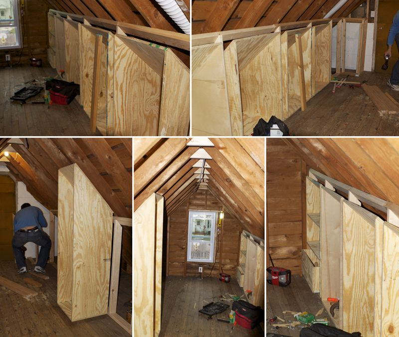 Walk In Closet In Unfinished Attic Space Master Bedroom