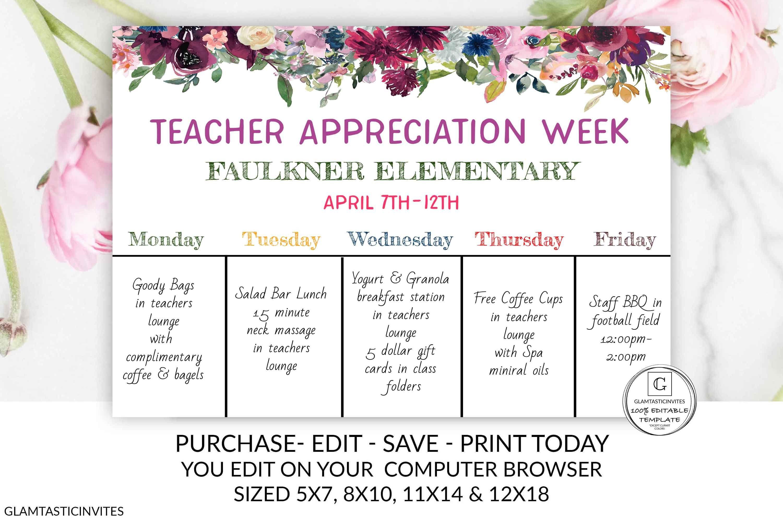 Teacher Appreciation Chalkboard Sign Template Template Editable