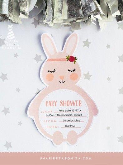 invitaci u00d3n - baby shower - conejita