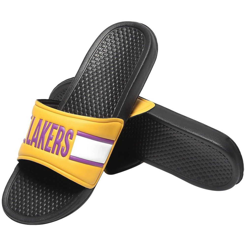 Men's Gold Los Angeles Lakers Raised Slide Sandals, Size: Medium