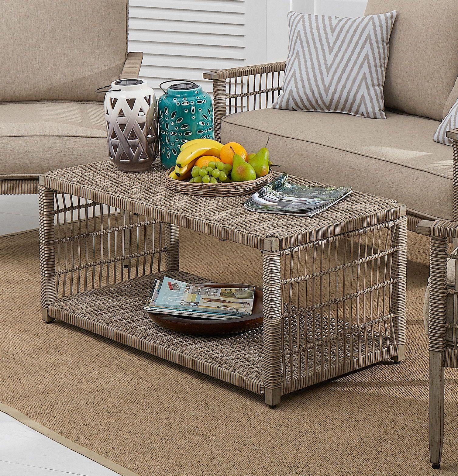 rectangular patio wicker coffee table