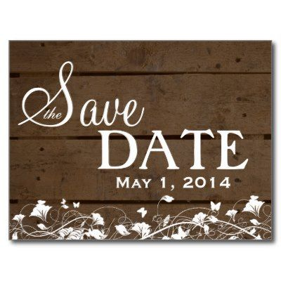 Vintage Wood Planks White Floral Save the Date Postcards