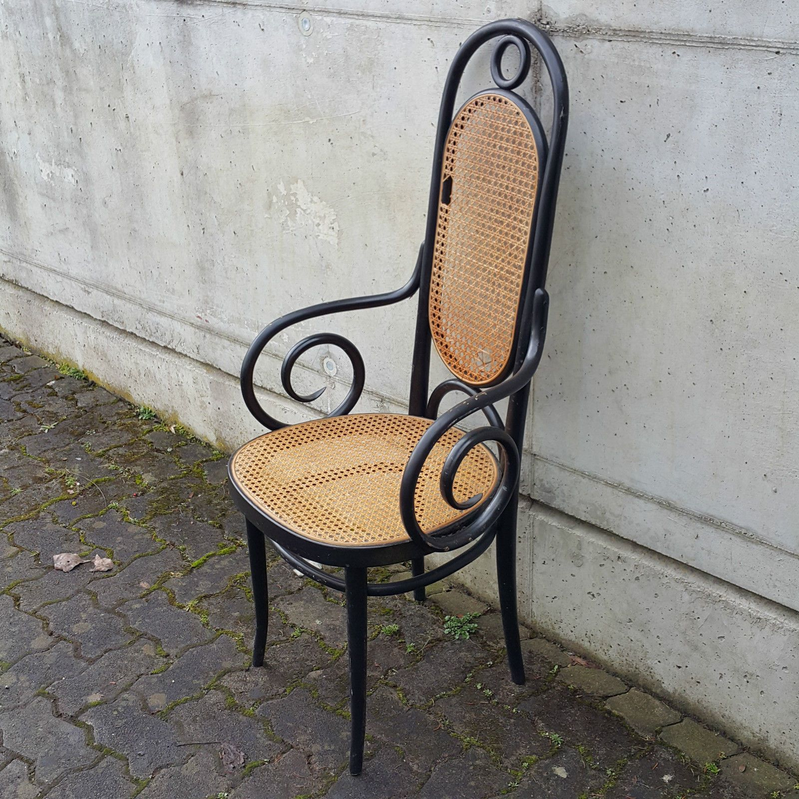 thonet fauteuil nr 17 antik armchair hochlehner stuhl wiener geflecht rarit t ebay thonet. Black Bedroom Furniture Sets. Home Design Ideas
