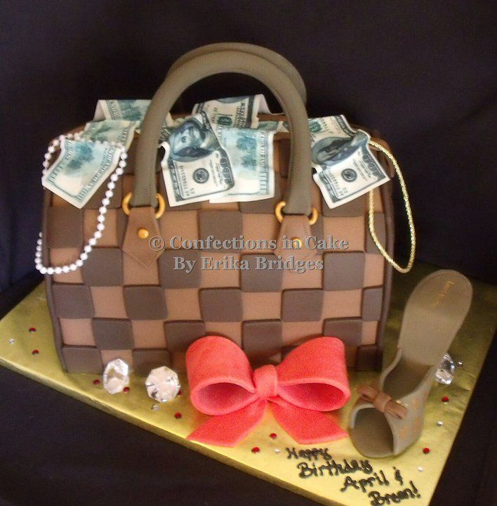 Louis Vuitton Purse Cake Accented With Edible Money Jewelry And Shoes Cake Designs Birthday Handbag Cakes Chanel Cake
