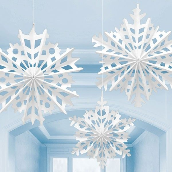 White christmas snowflake paper fan decorations light