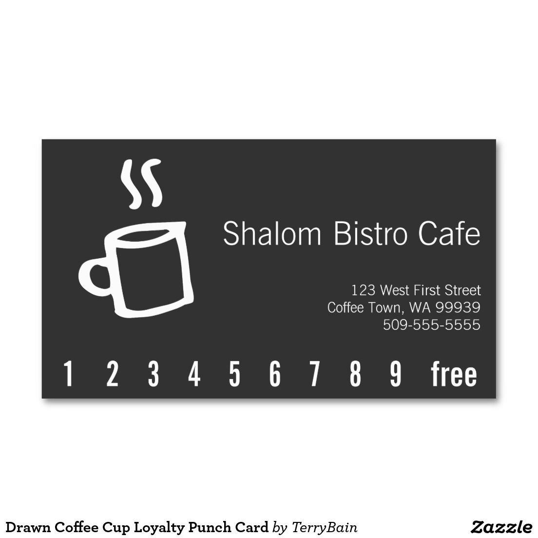Drawn coffee cup loyalty punch card business card loyal to coffee drawn coffee cup loyalty punch card business card colourmoves