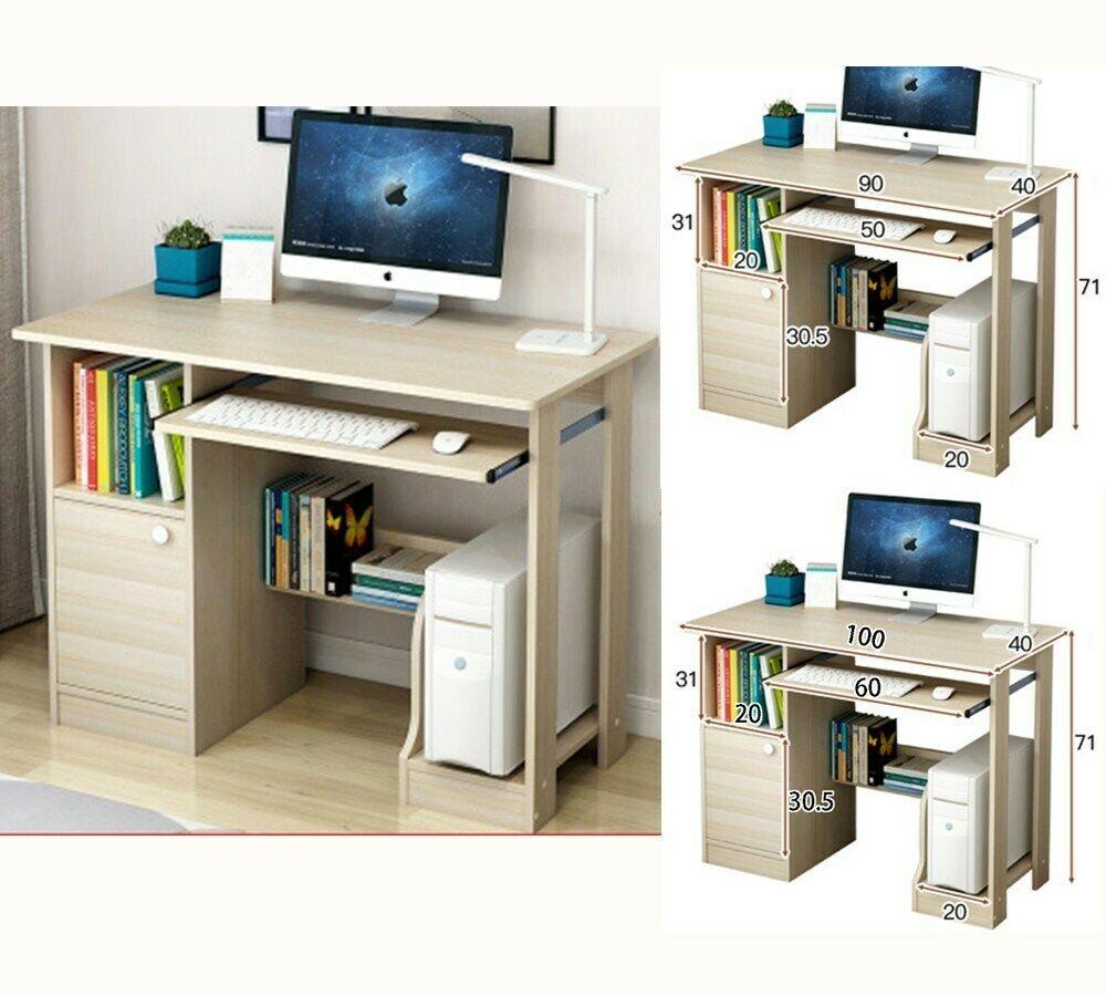 90 100cm Table Dordinateur Pc Bureau Informatique Laptop Avec Etagere Armoire Informatique Idees De In Office Desk Designs Home Office Furniture Desk Desk