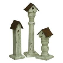 """Pack of 6 Decorative White and Rust Wood Birdhouse with Stand Garden Statues 14"""""""