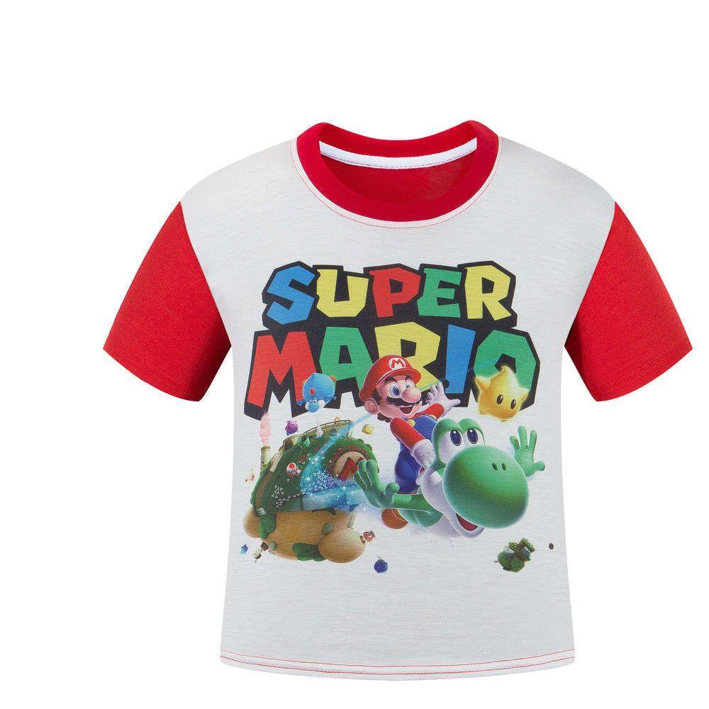 997bbcfbb Super Mario Camiseta Kinderen Infantil Chicos Ropa de Verano de manga Corta  Camisas de Los Muchachos