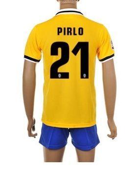 Free Shipping 13 14 Juventus Away Yellow 21 Pirlo Football Jersey Short Kit Football Uniforms Juventus So Football Uniforms Juventus Soccer Football Jerseys