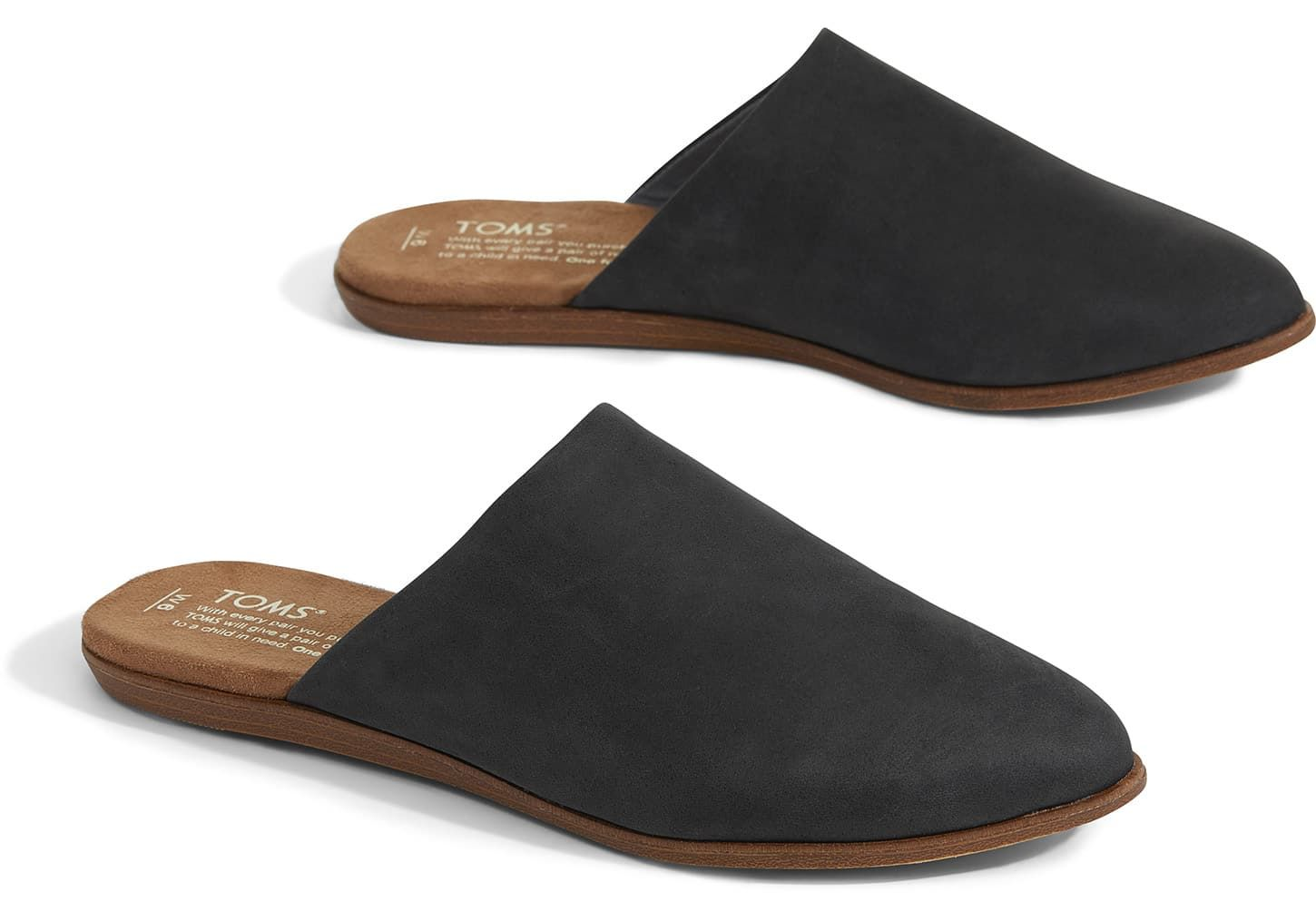 Leather shoes woman, Black mules shoes