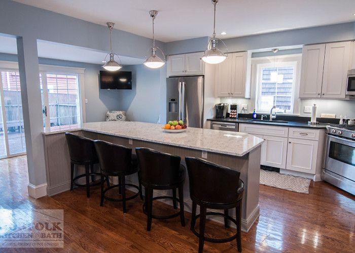 Best Custom White Kitchen With Gray Island Kitchen Remodel 400 x 300