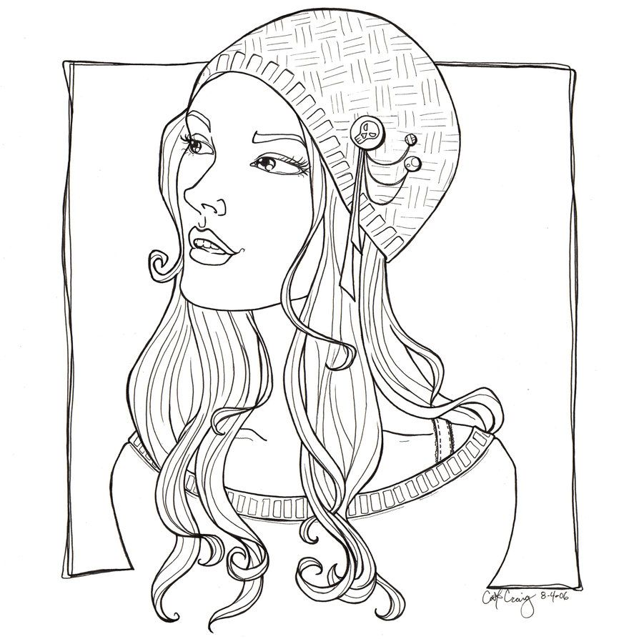 Pretty girl funky hat lineart by catzilla on DeviantArt   cute ...
