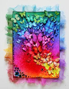 Original pinner sez: Card: Set the rainbow free  The butterflies are just different clipart I've found on picture-search-sites. I recolored them in photoshop, printed them on matte photopaper, cut them out, chalked the edges and added some glitter to some of them!