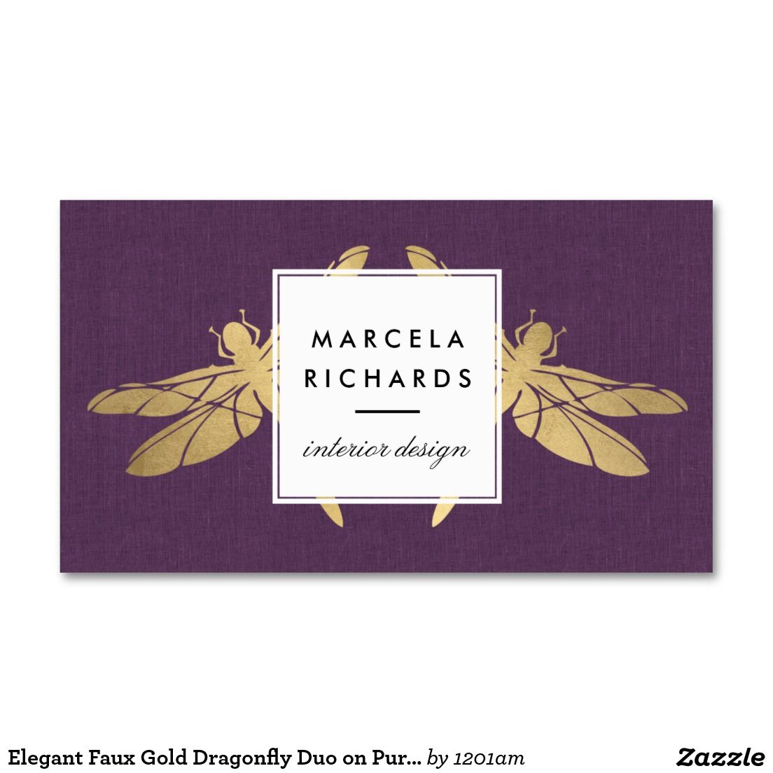 Elegant Faux Gold Dragonfly Duo on Purple Linen Double-Sided ...