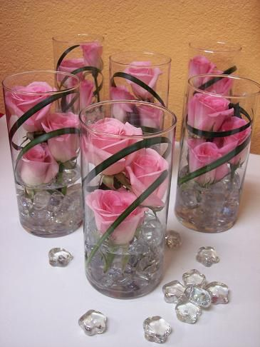 Submerged Flower Centerpieces Single Glass Vase Wedding