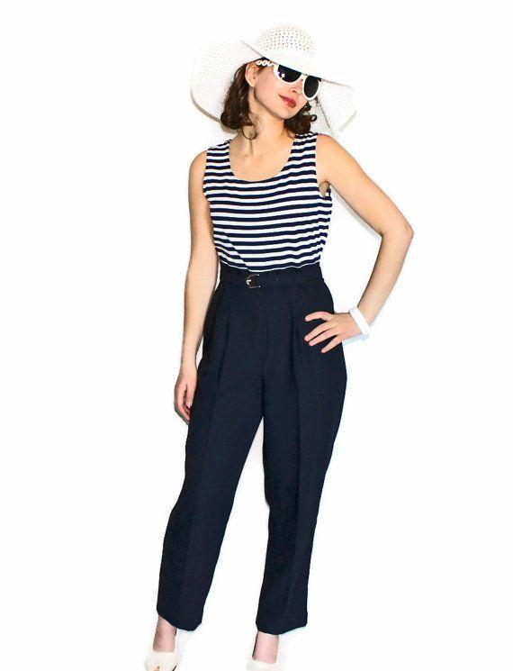 75c4d94d7128 80s one piece jumpsuit. Black white stripes top. Black pants. Petite ...