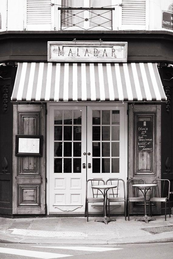 paris cafe photograph malabar cafe black and white photo large wall art - Black Cafe Decor