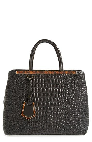 Fendi Medium 2jours Croc Embroidered Leather Per Available At Nordstrom