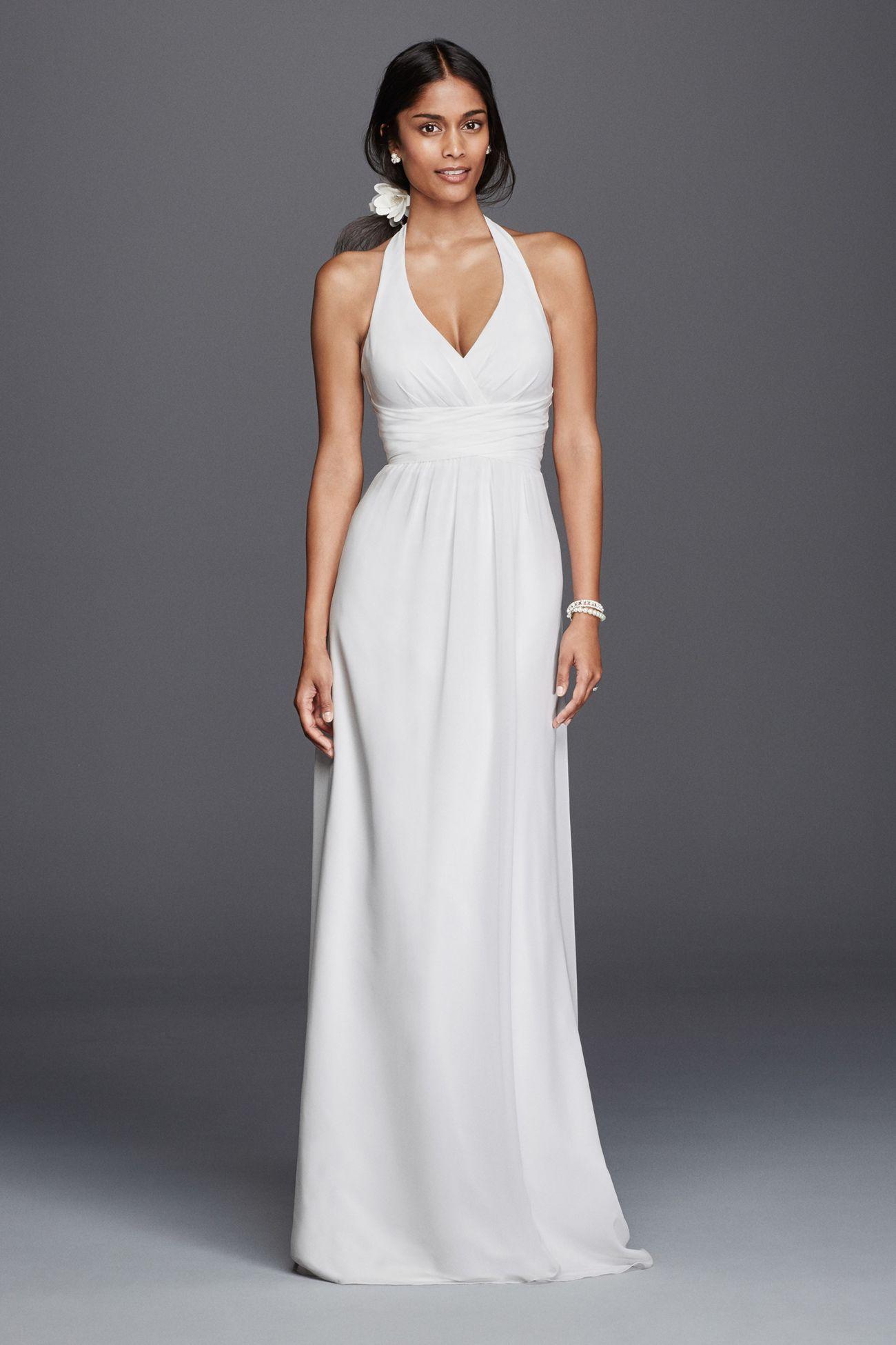 Chiffon Sheath Halter Wedding Dress Halter wedding dress