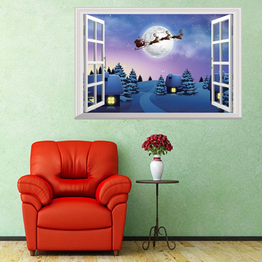 Christmas decorations d windows wall stickers living room tv wall