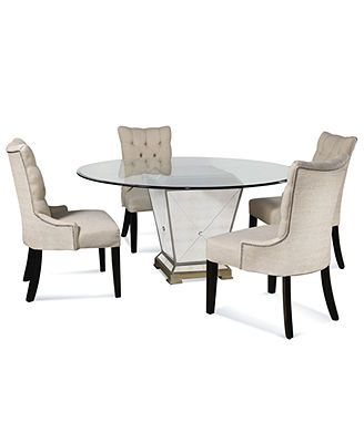 Marais Dining Room Furniture 5 Piece Set 54 Or 60 Mirrored Dining Table And 4 C Dining Room Furniture Collections Round Dining Room Dining Room Furniture