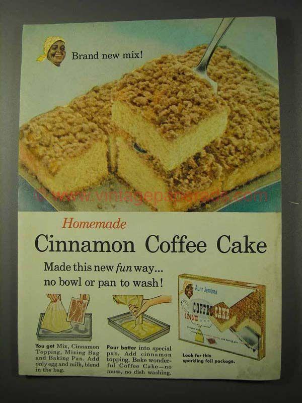 Vintage Coffee Cake 1958 Aunt Jemima Cinnamon Coffee Cake Ad New