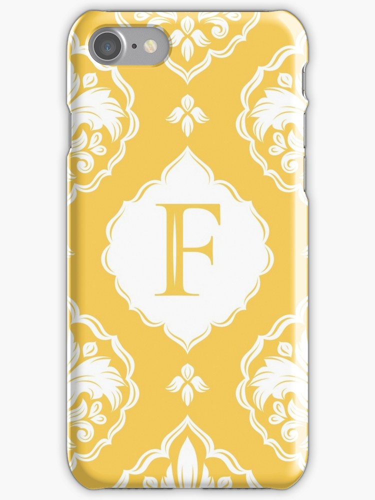 'Personalized Monogram. Royal flower. Yellow and white