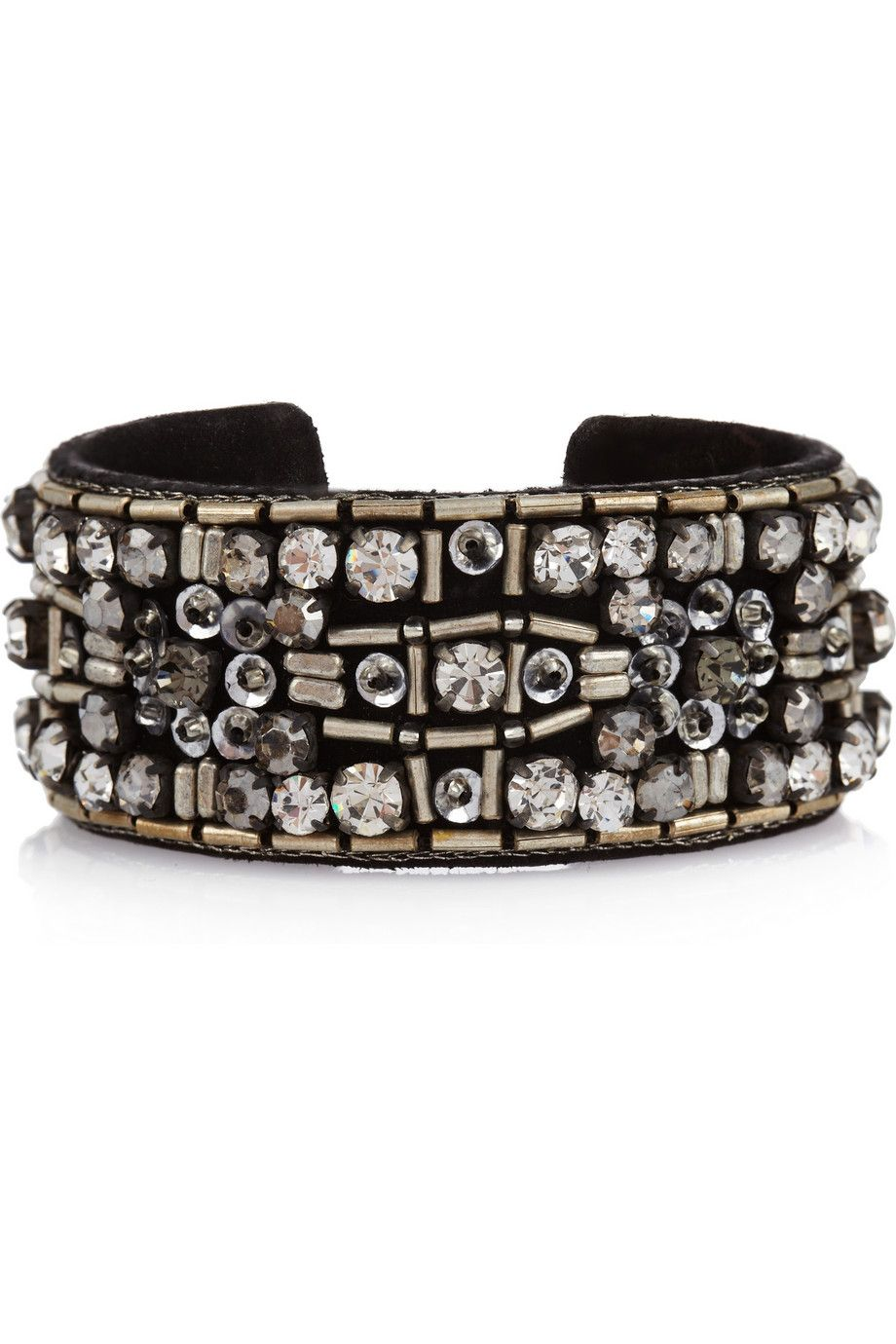 Isabel marant sunny girl crystal and beadembellished suede cuff