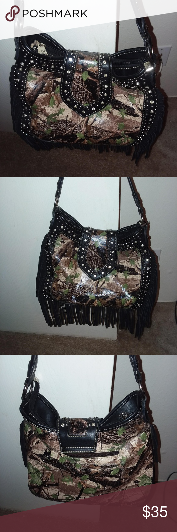 Montana West purse camouflage EUC Only used once Has fringe and rhinestones an  Montana West purse camouflage EUC Only used once Has fringe and rhinestones an  Montana We...