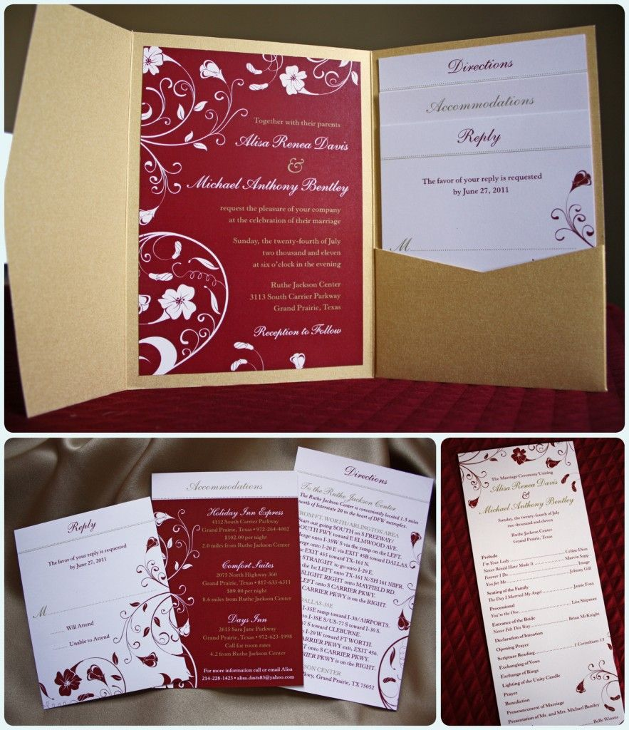 Red and Gold Tropical Floral Swirl Pocketfold Wedding Invitations ...