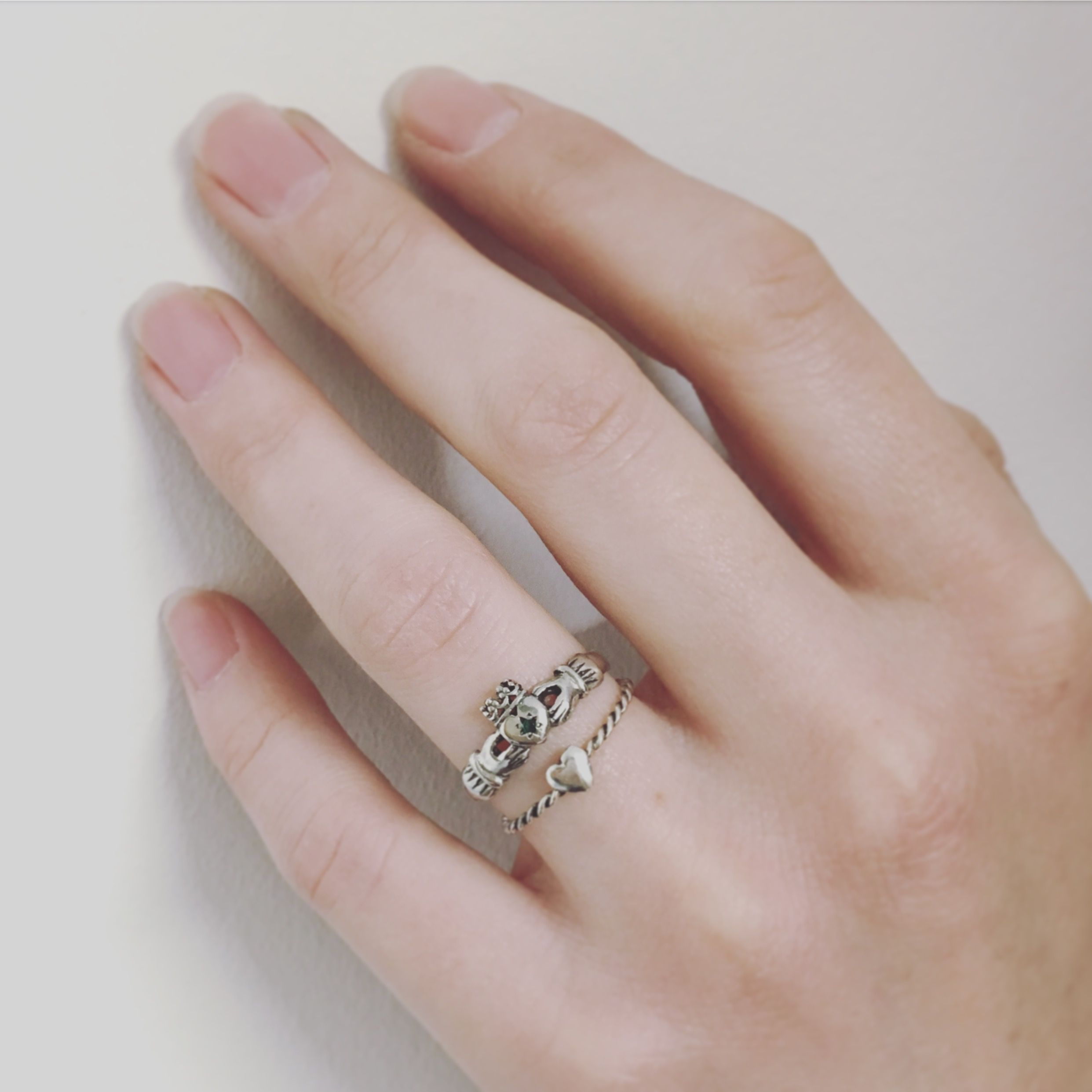 Tiny heart & Claddagh ring with tiny little emerald