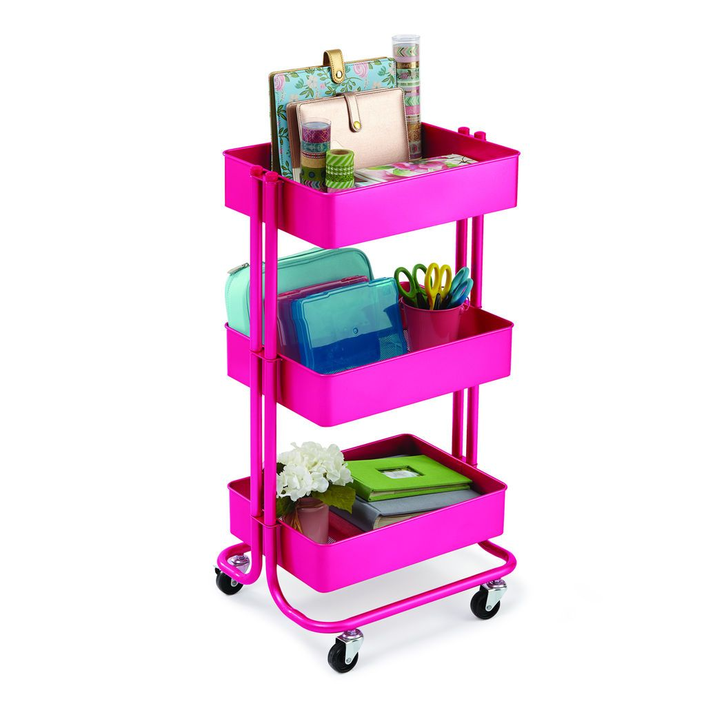 Purchase The Bright Pink Lexington 3 Tier Rolling Cart By